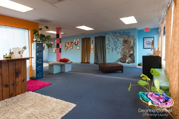 Home Hot Yoga St. Johns yoga studio with murals.