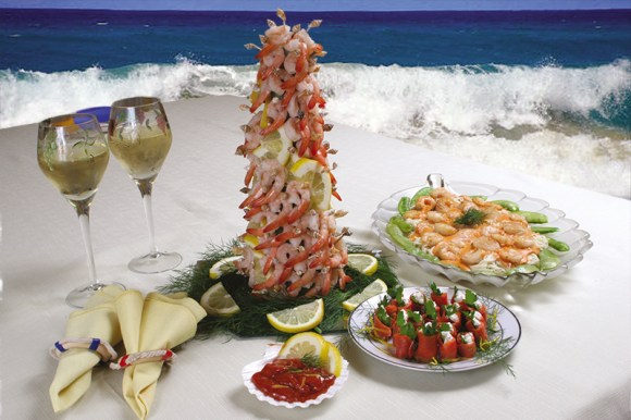 Seafood display at the beach.