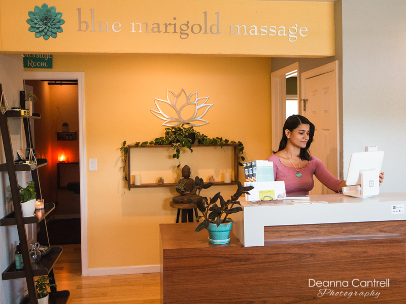 Blue Marigold Massage reception