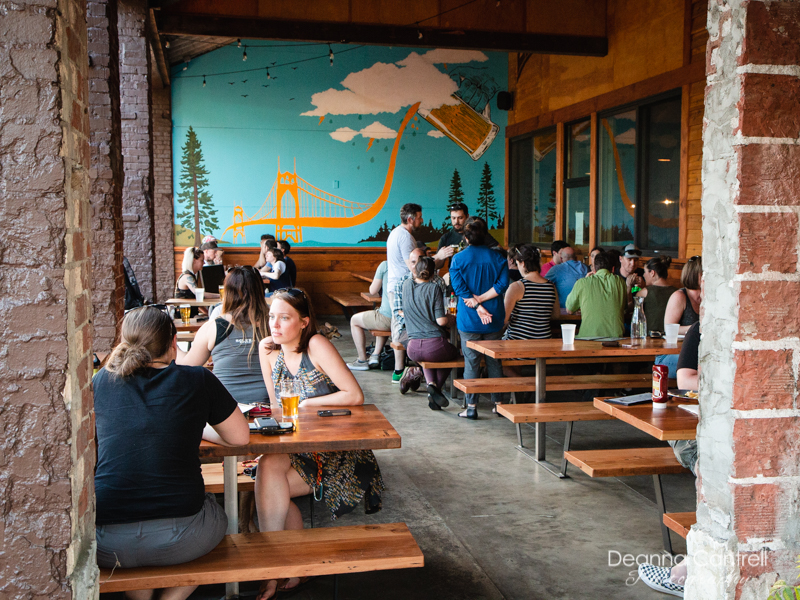 The outdoor dining area at StormBreaker Brewing in St. Johns