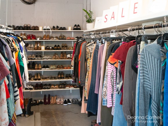 Racks of clothes at Gather Resale