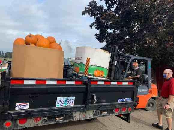 Pumpkins on a truck