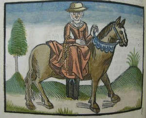 Woodcut illustration of the Wife of Bath