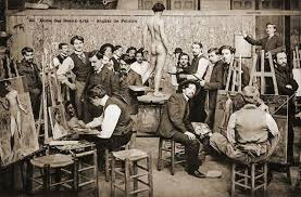 "Image details: École des Beaux-Arts – Atelier de Peintre. 'Students painting ""from life"" at the École. Photographed late 1800s. Public domain http://commons.wikimedia.org/"