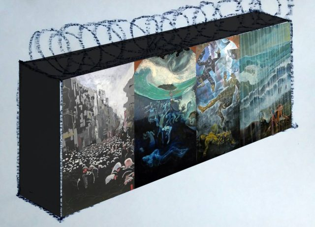 Mock up image of wall with barbed wire