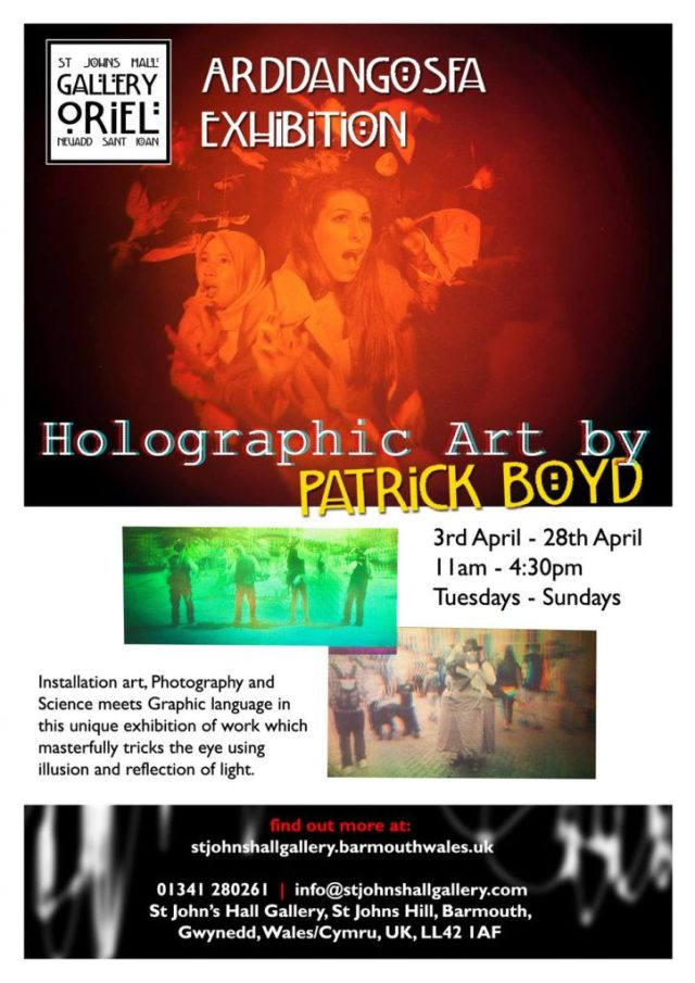 Poster for Exhibition at St John's Hall Gallery Holographic Art by Patrick Boyd
