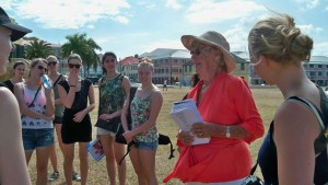 Nina York talks to students from Denmark during the St. Croix Transfer day celebration earlier this year.