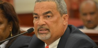 St. Croix Horse Racing Commission Chair Wayne Biggs Jr. at a Senate hearing in 2016 (photo by Barry Leerdam courtesy of the V.I. Legislature)