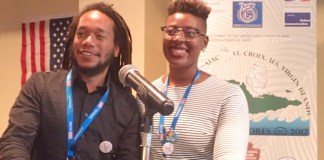 Ayana Flewellen and Justin Dunnavant talk about their youth program and archeological field school at the Nature Conservancy on St. Croix at Monday's conference.