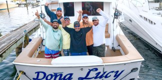 The anglers of Doña Lucy celebrate winning top boat Sunday in the Atlantic Blue Marlin Tournament. (Photo submitted by ABMT)