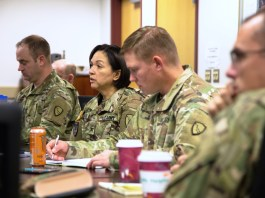 Members of the Alaska National Guard's Joint Operations Center, led by Col. Kimberely DeRouen, finalize details for the deployment of more than 50 Guardsmen from Alaska to St. Croix to provide operational and sustainment support in the aftermath of Hurricanes Maria and Irma. (Alaska Army National Guard photo by 2nd Lt. Marisa Lindsay)