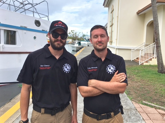 The Global Disaster Immediate Response Team – known as DIRT – brought Zac Clancy, left, and Luke Harwath to St. John. In their other lives, Clancy is an IT programmer and Howarth a filmmaker.