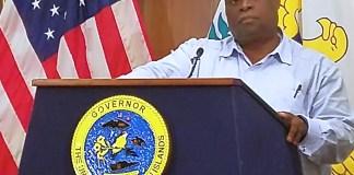 Gov. Kenneth Mapp speaks at Friday's news conference. (Jamie Leonard photo)