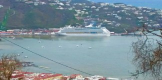 Royal Caribbean's Adventure of the Seas ties up at Charlotte Amalie, wh3re it took on about 560 passengers, part of a contingent of 1,400 evacuated Saturday from the territory. (SAP photo)