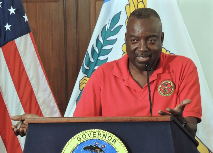 At a Wednesday news conference, Lt. Gov. Osbert Potter announces that Friday will not be a holiday for government workers. (Jamie Leonard photo)