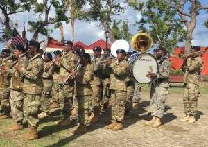 The V.I. National Guard plays during ceremonies in Frederiksted.