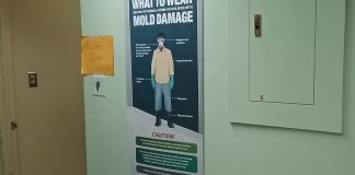 A poster in the Morris de Castro Clinic in Cruz Bay offers tips on how to remove mold.