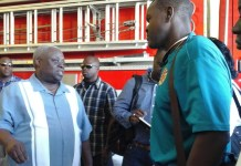 A firefighter questions Gov. Kenneth Mapp Tuesday about the future of the Robert O'Connor Sr. Fire Station in Cruz Bay.