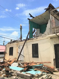 A heavily damaged building in downtown Charlotte Amalie bears witness to the power of Hurricane Irma. (Kelsey Nowakowski photo)