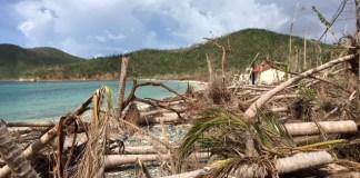 Debris piled up along the beach at Maho Bay in October.