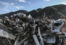 Hurricane debris piled in Coral Bay, St. John.
