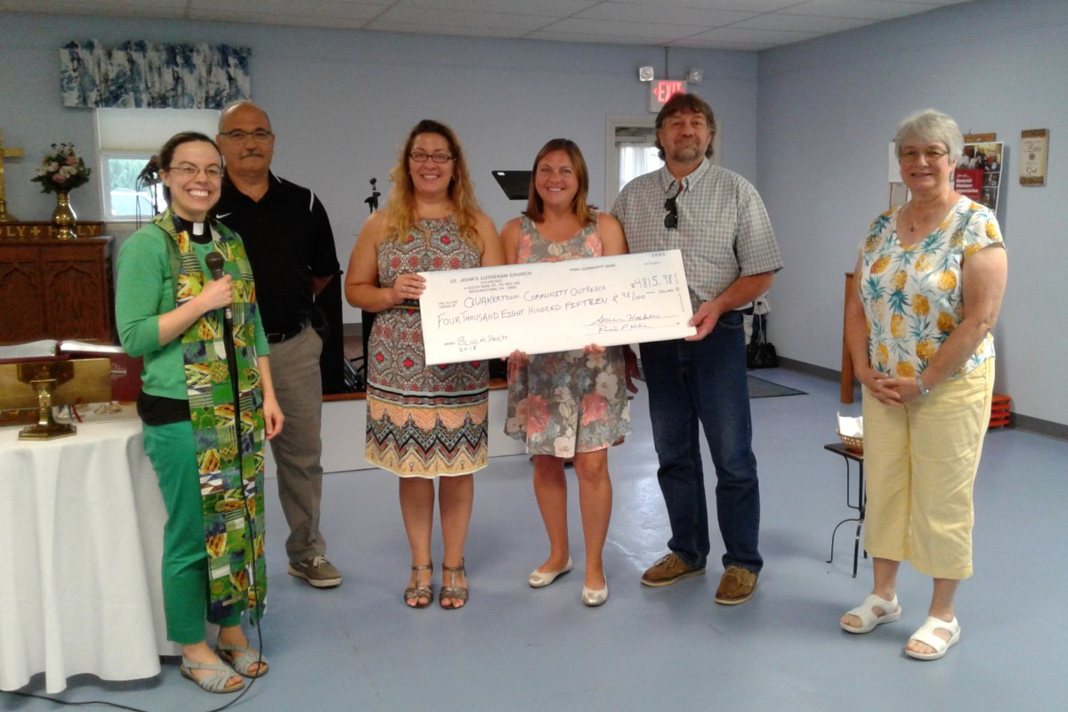 Presentation of $4815.98 Check to QCO at Service on July 15 2018