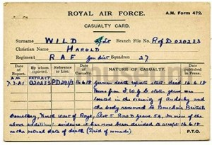 harold wild casualty card