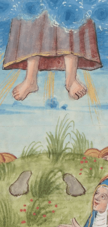 medieval picture of ascension with footprints left on ground - get him back out