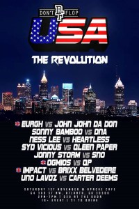 A poster for Don't Flop's 'USA: The Revolution' event.