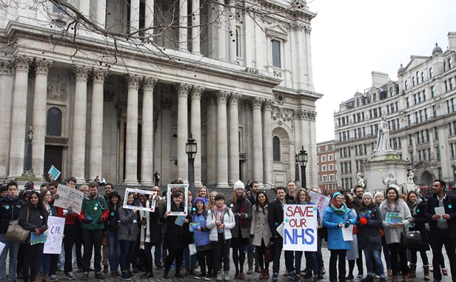 The Junior doctors protested against Jeremy Hunt's seven day contract outside St Paul's Cathedral. Photo credit: Valerie Browne