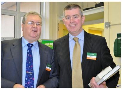 Principal Gerry Cullen with Joe Duffy, author and broadcaster. 1916 Commemorative event, Primary school hall. 29/01/16
