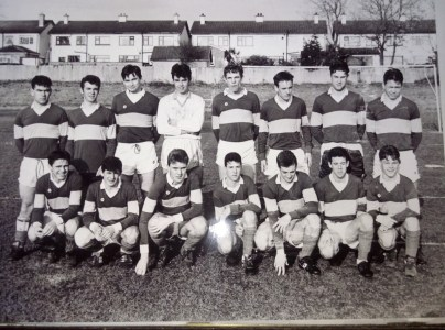 School Team comprising All Ireland Senior FAI schools cup winners February 1992 and Dublin Senior Colleges Football winners 1992. Photograph provided by Derek Moran.