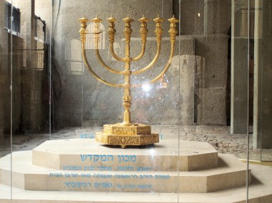 A Menorah Replica on Display
