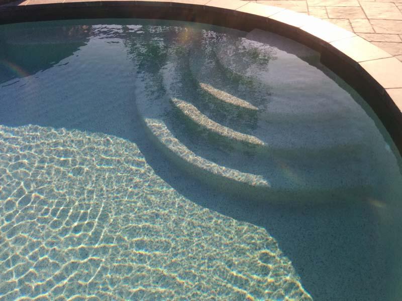 steps on an inground pool