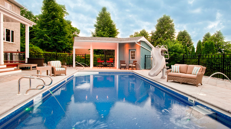 inground pool with slide