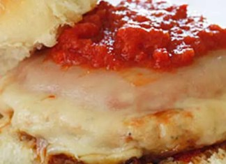 These Chicken Parmigiana Burgers are a quick lunch or weeknight meal ready in less than 10 minutes your whole family will enjoy!