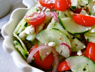 I've made this Cucumber Tomato and Feta Salad a couple of times, but this time I added feta cheese - let me tell you - it did the trick.