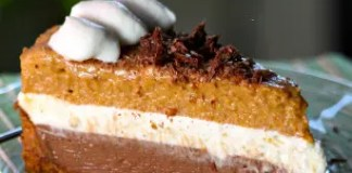 Delightful layers of pumpkin, cheesecake and chocolate, nestled in a Biscoff cookie crust, make a rich and dreamy dessert. This Chocolate Pumpkin Mousse Pie is perfect for your holiday baking!