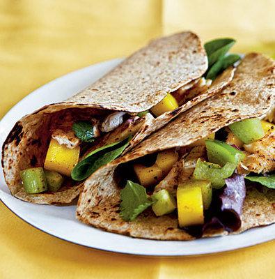 Blackened Catfish Taco with Mango Chutney and Cilantro Black Beans