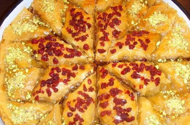 Baklava Christmas Star With Pistachio and Dried Cranberries