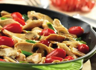 Recipe for Chicken with Grape Tomatoes and Mushrooms - Here's a way to get great flavor, fast. This quick-cooking skillet dish features strips of sautéed chicken with mushrooms, green onions and grape tomatoes.