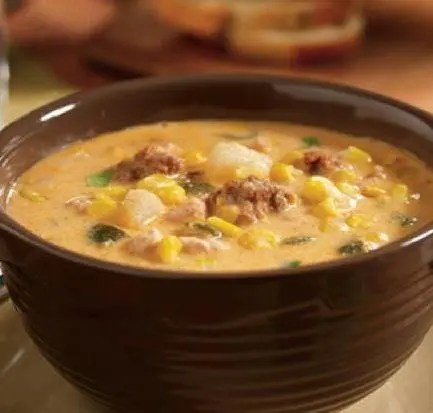 Recipe for Slow Cooker Poblano Corn Chowder with Chicken and Chorizo
