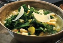Recipe for Healthy Kale And Bean Soup - A hearty and healthy rustic Tuscan-style soup recipe that is quick, easy, and sure to impress.