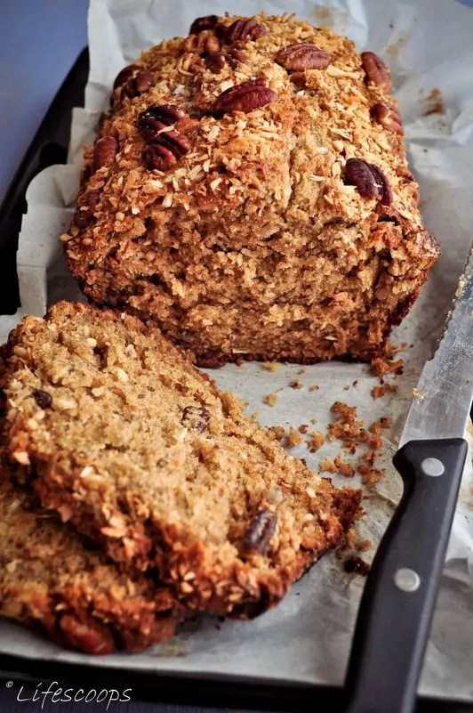 Recipe for Toasted Coconut Banana Bread with Pecans