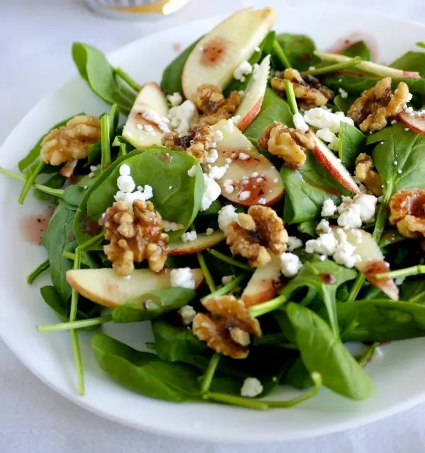 Apple Spinach Salad with Nuts and Dates