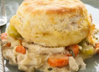 Chicken and Biscuit Bake Recipe - A vegetable and chicken dish perfect for your family dinner, it's just like a chicken pot pie, without the pie.