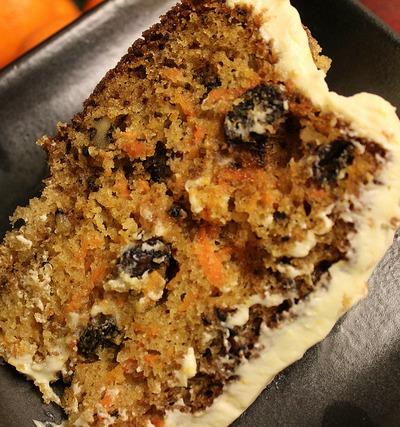 Rum Raisin Carrot Cake with Cream Cheese Frosting