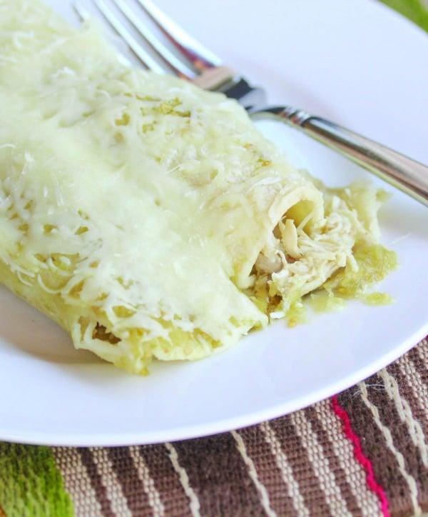 4-Ingredient Salsa Verde Chicken Enchiladas