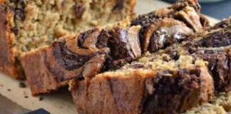 Recipe for Banana Bread with Chocolate Swirl - Moist, fluffy banana bread topped with a luscious chocolate swirl. You won't believe that this delicious treat is gluten-free!