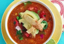 This Chicken Tortilla Soup with Fire Roasted Tomatoes is a healthy, hearty, and flavorful soup that will leave you wanting more!